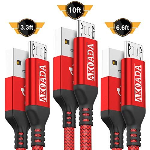 Volutz Micro USB Cable 5-Pack 10ft 6.5ft Xbox Nylon Braided Compatible with Samsung Galaxy S7 Edge S6 S5 PS4 LG G4 Reliable Fast Charging Cables 3X 3.3ft Kindle Equilibrium Android Phone