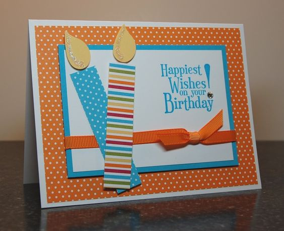 Bright and simple handmade birthday card using stampin up products – Pinterest Stampin Up Birthday Cards