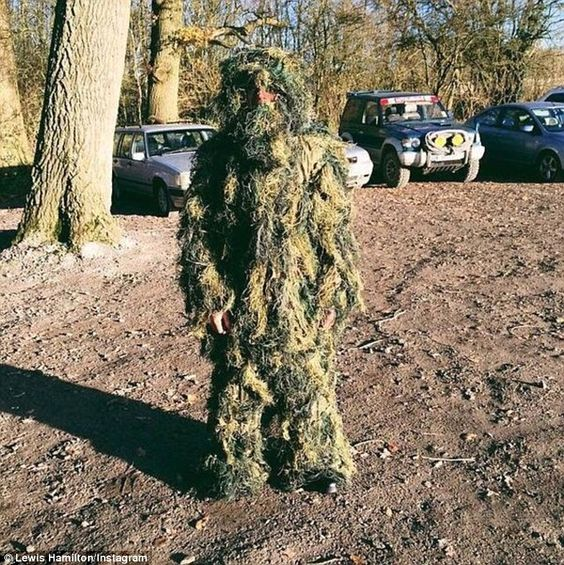 Lewis Hamilton uploaded an Instagram photo of himself in a ghillie-style suit as he went paintballing