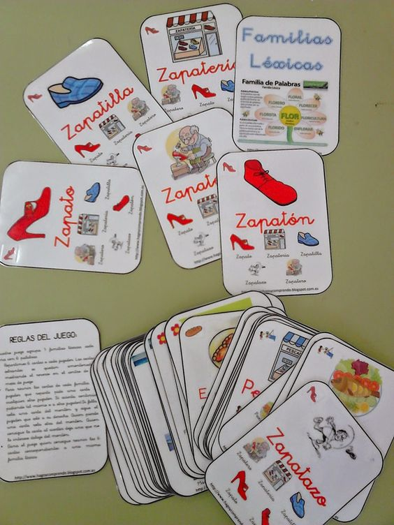 hago y comprendo: Juego de cartas: familias léxicas