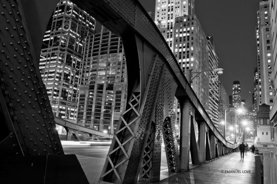 Chicago Bridge At Night By Emanuellove On Etsy 79 00 Chicago River Chicago My Kind Of Town