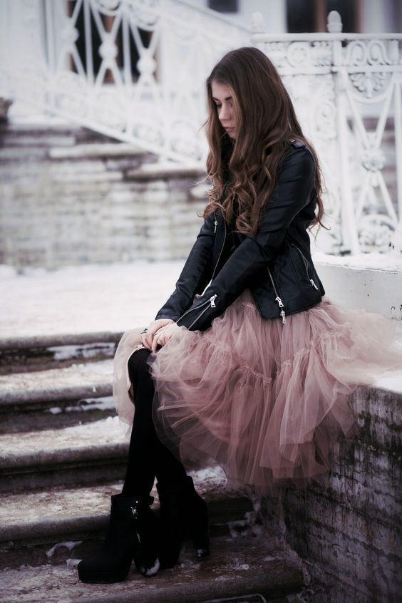 Hard and soft. Leather and tulle. Black and pink. A punk princess
