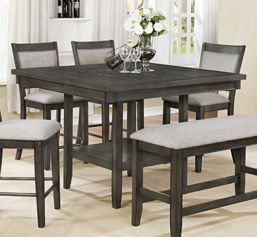 Fulton Grey Wood Counter Height Table By Crown Mark Counter