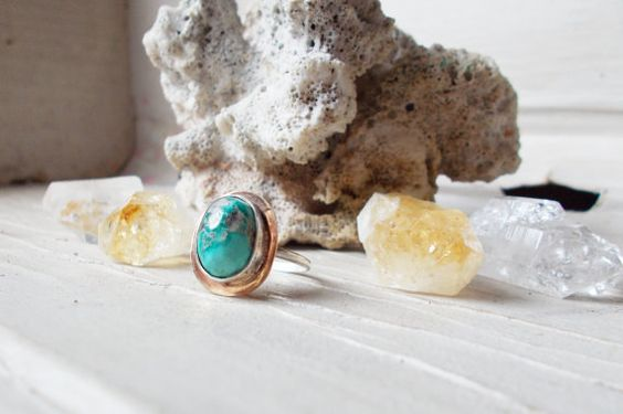 Natural Royston turquoise sterling silver ring by CultivatedDreams