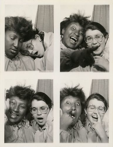 ** Vintage Photo Booth Picture **   Teenagers being teenagers.