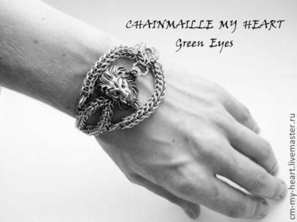 """Мужской браслет """"Leon"""" (нержавеющая сталь) - серебряный,chain-maille my heart"""