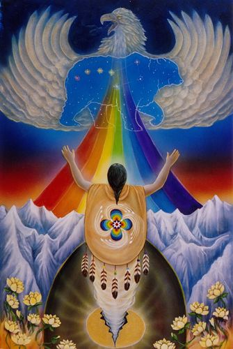 "The Amazon shamans believe that when you clear all your chakras you acquire a ""rainbow body."" Each center vibrates at its natural frequency, and you radiate the seven colors of the rainbow. According to legend, when you acquire the rainbow body you can make the journey beyond death to the Spirit world. You are able to assist others in their healing, and you can die consciously since you already know the way back home.:"