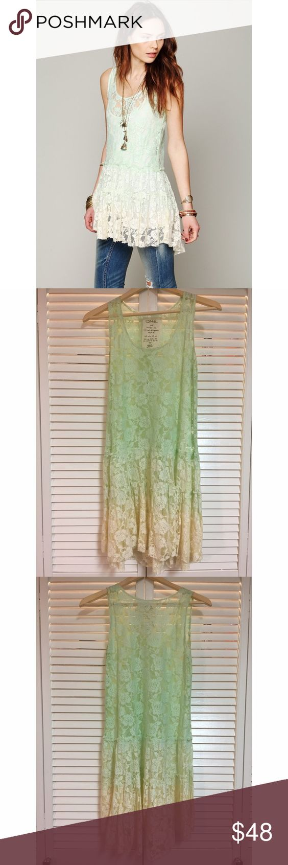 Free People Sundial FP One Dip Dye Emily Slip Handmade Free People dip-dyed lace slip dress. Ombré color, mint green to ivory. Style with a seamless white slip or with a cami and jeans. Slight discoloration under arms along seam Free People Dresses Mini