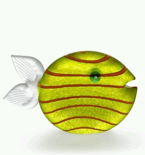Glasmanufaktur Borowski  Snippy Tall  Deko Briefbeschwerer Fisch Farbe Zitro NEU