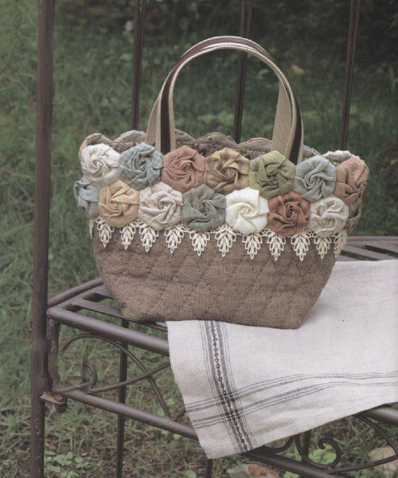 How to make tutorial rose flower shoulder tote Bag Handbag  purse women sewing quliting quilt patchwork applique pdf pattern patterns ebook. $6.00, via Etsy.: