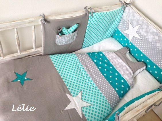 tour de lit 2 gigoteuses sur commande menthe gris blanc et turquoise turquoise and tour. Black Bedroom Furniture Sets. Home Design Ideas