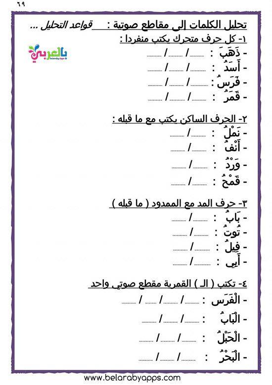 تدريبات تحليل الكلمات العربية إلى مقاطع صوتية للأطفال اوراق عمل بالعربي نتعلم Alphabet Practice Worksheets Arabic Alphabet For Kids Learn Arabic Alphabet