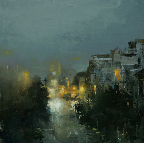 "Hsin-Yao Tseng, Russian Hill under Fog. 10""x10"" Oil on Panel 2010"