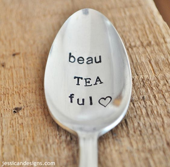 BeauTEAful -  Hand Stamped Vintage Spoon for TEA LOVERS - jessicaNdesigns Original. $16.00, via Etsy.