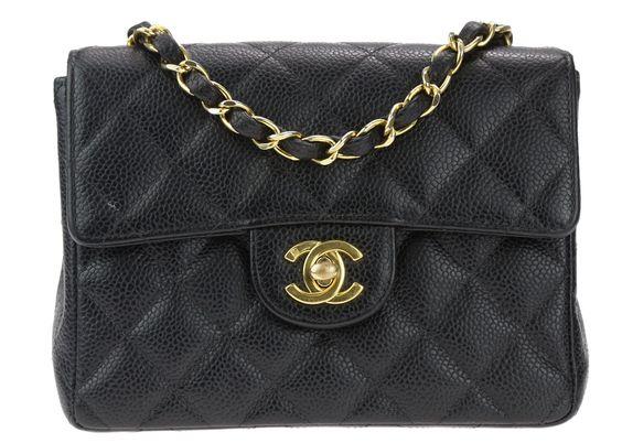 Chanel Vintage Black Caviar Mini Square Flap Bag