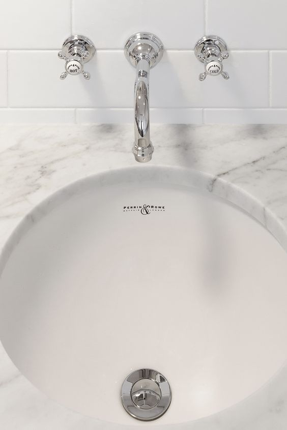 Three hole wall mounted basin set with crosshead handles | Perrin and Rowe