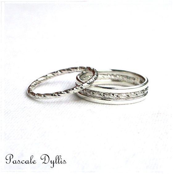 Alliances - Duo d'alliances facettées vrillées argent massif 925 pour âmes sœurs - anneaux argent massif avec : Bague par pascale-dyllis
