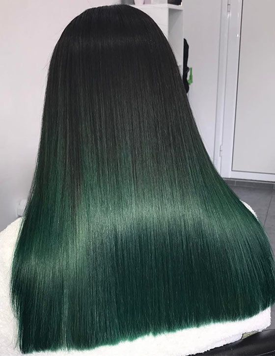 Ombre Hair Color - Bottle Green Ombre On Blunt Cut Ends
