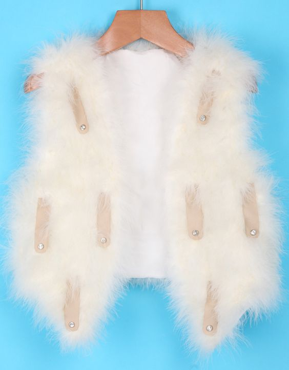White PU Leather Embellishement Faux Fur Crop Vest 36.67