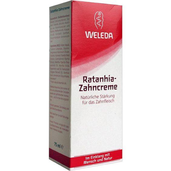 WELEDA Ratanhia Zahncreme:   Packungsinhalt: 75 ml Zahnpasta PZN: 00506550 Hersteller: WELEDA AG Preis: 3,05 EUR inkl. 19 % MwSt. zzgl.…