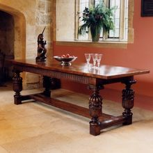 Oak dining table with Elizabethan carved cup & cover legs