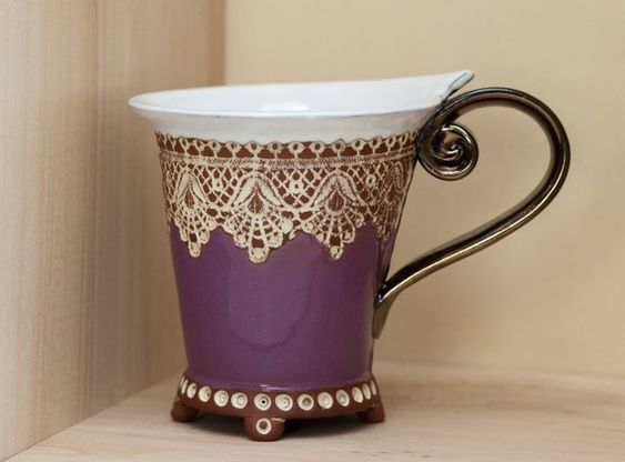 Ceramic Cup, Tea Cup, Handbuilding Techniques, Ceramics and pottery , Handmade cup, Coffee cup, Violet cup, Coffee mug, Wedding gift, Mug,