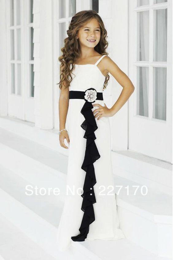 Elegant Spaghetti Strap Chiffon Hot black and white flower girl ...