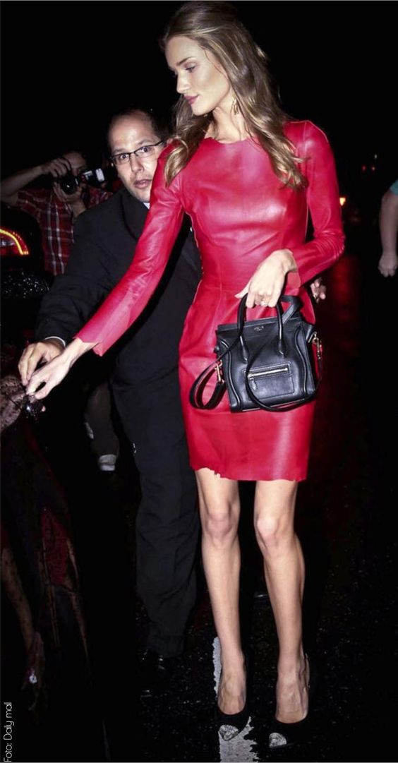 red leather lady