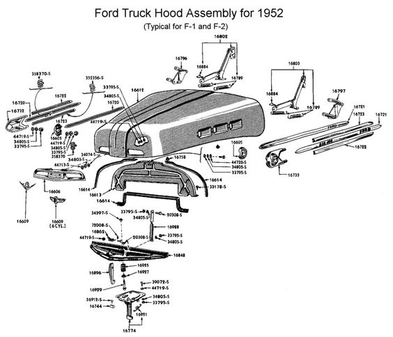 1952 ford pickup hood assembly