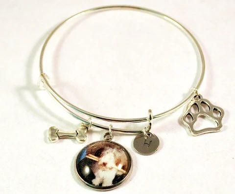 Personalized Pet Bangle Bracelets for Women Adjustable Charms Size 6-8 – BlueMorningExpressions