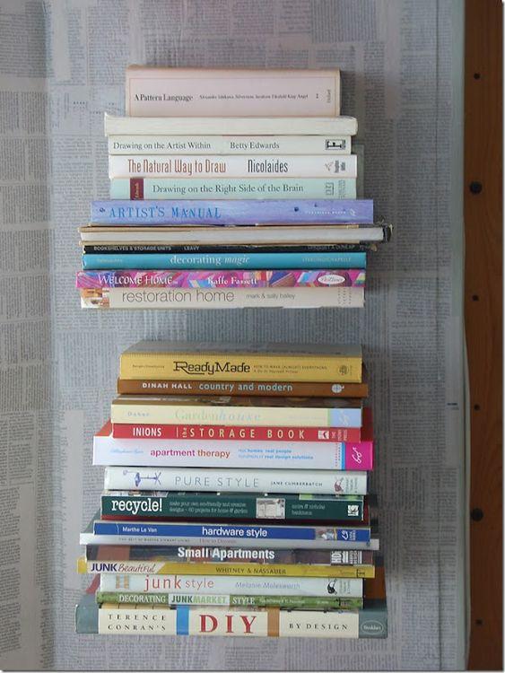 diy invisible book shelfs