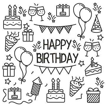 Birthday Party Doodle Vector Set Of Birthday Party Element With Cute Black Line Design Doodle Clipart Birthday Party Party Png And Vector With Transparent Ba Happy Birthday Doodles Birthday Doodle Happy