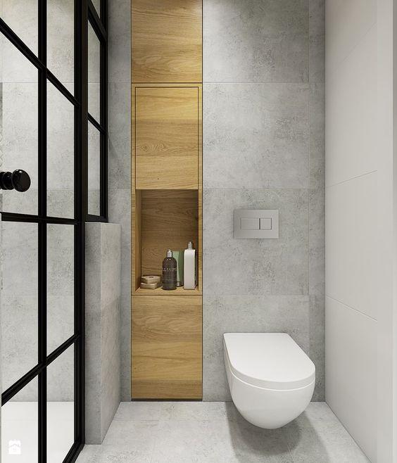 marble bathroom with wood niche Bathroom Decor Pinterest - led leiste küche