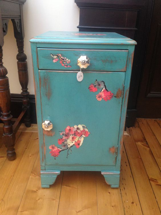 Shabby chic decoupage cabinet from the barrows