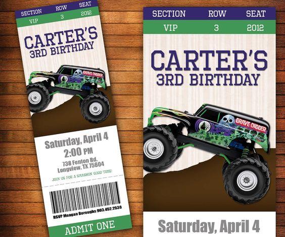Monster Truck Birthday Invitation, Monster Jam Ticket, Boys Birthday Party - Digital File by LilGiggs on Etsy https://www.etsy.com/listing/227857376/monster-truck-birthday-invitation
