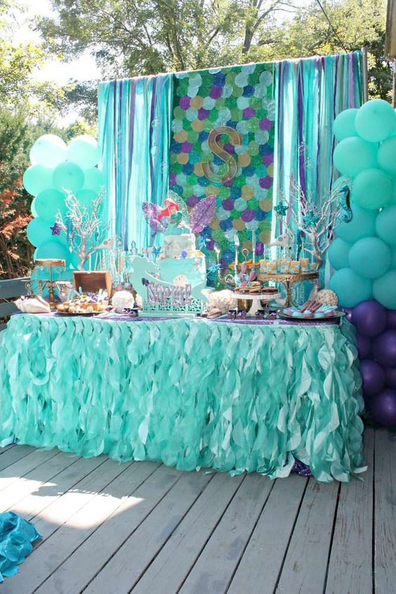 Pirate birthday parties birthday party ideas and mermaids for Ariel party decoration ideas