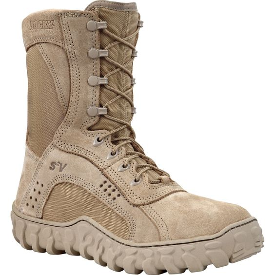 Rocky S2V Mens Desert Tan Leather Steel Toe Tactical Military Boots