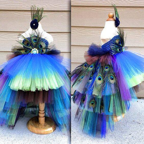 Peacock Tutu Kostüm Pageant Party Portrait-Kleid mit echten Pfau Federn lange Schichten Weihnachten Geschenk Silvester