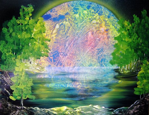 Spray Paint Art Original Night Space Forest Pond by EacArt on Etsy