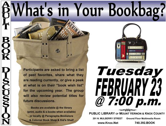What's in your book bag? | Adult Book Discussions | Pinterest ...
