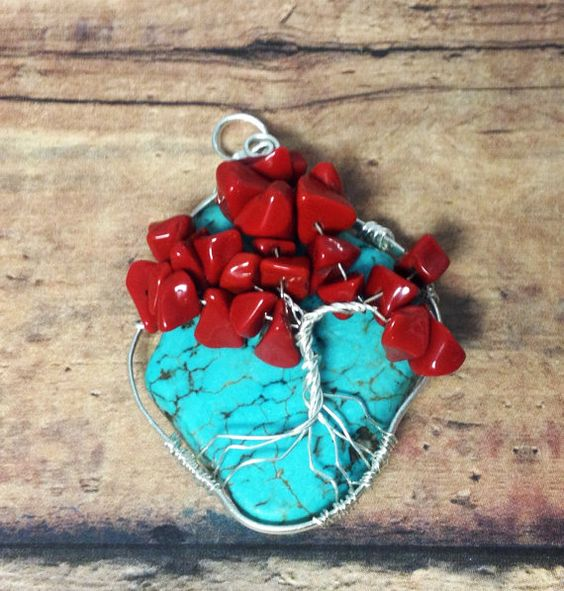 Turquoise and silver tree of life pendant.  Handmade wire wrapped jewelry.  Turquoise and coral jewelry. on Etsy, $45.00