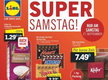 Lidl: Kilopack Käfer-Kaffee für 7,49 Euro / Basmati-Reis für 1,29 Euro https://www.discountfan.de/artikel/essen_und_trinken/lidl-kilopack-kaefer-kaffee-fuer-7-49-euro-basmati-reis-fuer-1-29-euro.php Kaffe- und Reisfreunde kommen in der nächsten Woche bei Lidl voll auf ihre Kosten: Ausschließlich am Samstag, 17. September 2016, gibt es das Kilopack Käfer-Kaffeebohnen für 7,49 Euro, außerdem ist die Kilopackung Basmati-Reis für 1,29 Euro zu haben – letztere auc