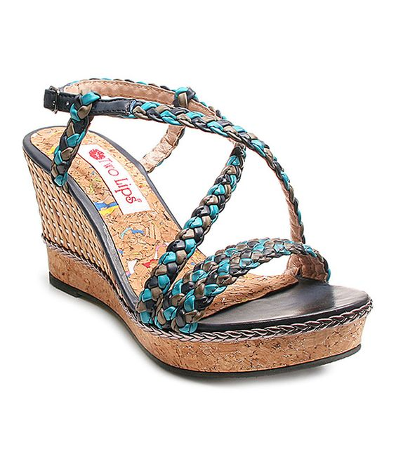 Look what I found on #zulily! Two Lips Blue & Black Braided Hazel Sandal by Two Lips #zulilyfinds
