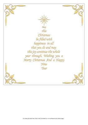 Christmas Insert With Verse In The Shape Of A Christmas Tree Gold Colour Various Co Christmas Card Verses Christmas Card Sayings Christmas Card Sentiments
