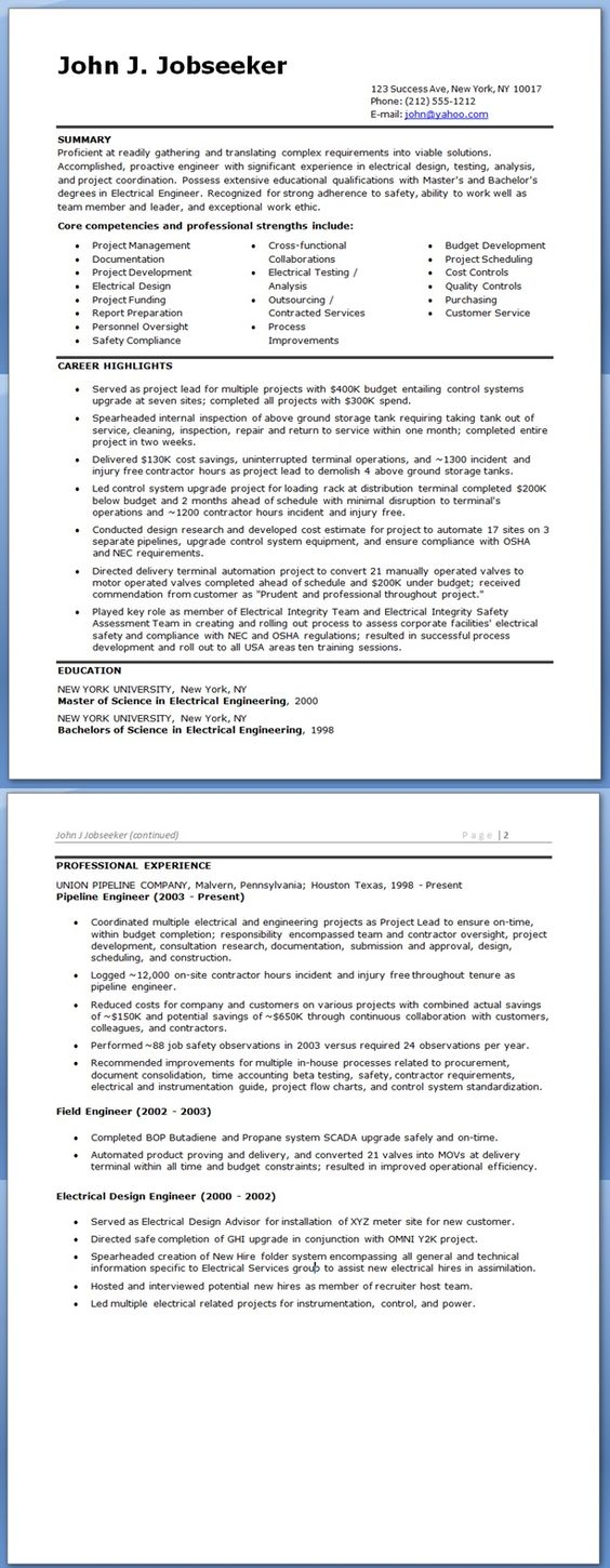 100 Sample Resume Electrical Estimation Engineer