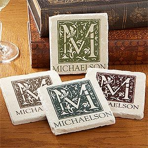 I love these personalized Stone Coasters - the floral monogram design is so pretty and you get to pick the color that matches your home. So elegant looking, I love the stone ones!