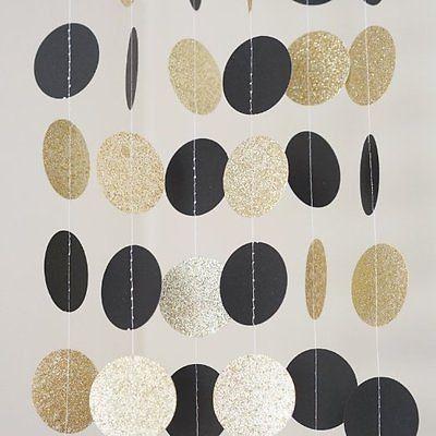 Black and gold glitter circle polka dots paper garland 10 for Gold dot garland