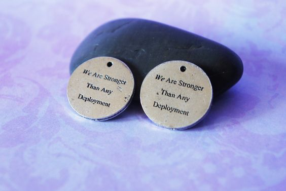 We Are Stronger Than Any Deployment A Set of 2 Pewter Charms. $3.99, via Etsy.