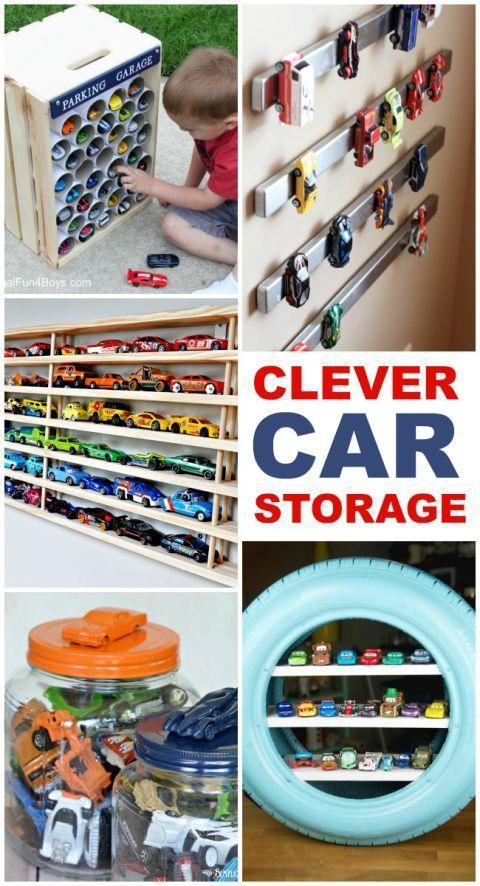 Clevere Aufbewahrung für Autos. Kleinkind Spielzeugauto