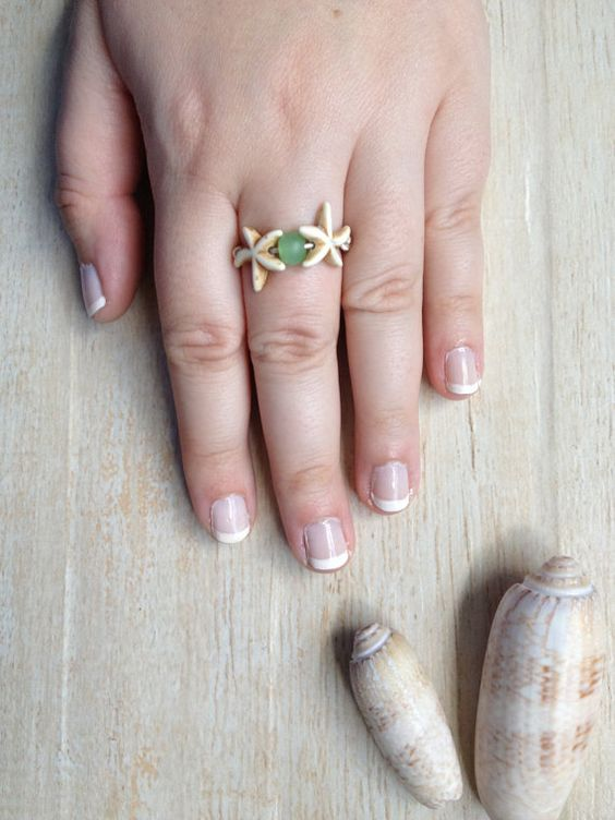 Starfish Ring, Starfish with Green Sea Glass Look Bead, Beach Jewelry, Made to Order Ring, Wrapped Ring